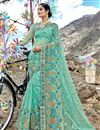 image of Function Wear Designer Embroidered Net Fabric Saree In Cyan