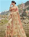 image of Beige Net Fabric Function Wear Designer Embroidered Saree