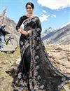 image of Function Wear Designer Black Net Fabric Embroidered Saree