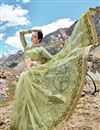 photo of Net Fabric Function Wear Designer Embroidered Saree In Sea Green