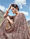 photo of Dark Beige Function Wear Net Fabric Designer Embroidered Saree