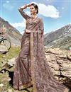 image of Dark Beige Function Wear Net Fabric Designer Embroidered Saree