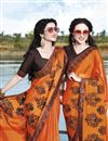 photo of Function Wear Fancy Orange Chiffon Fabric Embroidered Saree