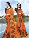 image of Function Wear Fancy Orange Chiffon Fabric Embroidered Saree