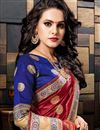 photo of Sangeet Wear Cotton Silk Weaving Work Designer Maroon Saree