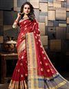 image of Sangeet Wear Cotton Silk Weaving Work Designer Maroon Saree