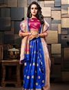 photo of Blue Sangeet Wear Weaving Work Designer Saree In Cotton Silk