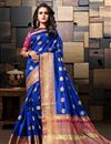 image of Blue Sangeet Wear Weaving Work Designer Saree In Cotton Silk