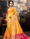 image of Sangeet Wear Cotton Silk Designer Weaving Work Mustard Saree