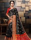 image of Cotton Silk Sangeet Wear Weaving Work Black Designer Saree