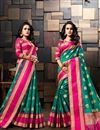 image of Sangeet Wear Cotton Silk Designer Weaving Work Saree In Teal