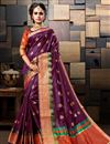image of Cotton Silk Purple Sangeet Wear Weaving Work Designer Saree