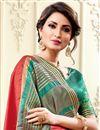 photo of Cotton Silk Red Sangeet Wear Weaving Work Designer Saree