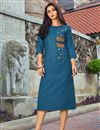 image of Sky Blue Cotton Fabric Festive Style Thread Embroidered Kurti