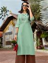 image of Cotton Fabric Sea Green Festive Style Thread Work Kurti With Palazzo