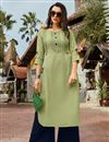 image of Thread Work Khaki Color Cotton Fabric Festive Style Kurti With Palazzo