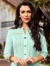 photo of Festive Style Sea Green Thread Work Cotton Fabric Kurti With Palazzo