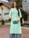 image of Festive Style Sea Green Thread Work Cotton Fabric Kurti With Palazzo