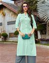 image of Thread Work Sea Green Cotton Fabric Festive Style Kurti With Palazzo
