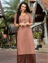 image of Chikoo Color Cotton Fabric Festive Style Thread Work Kurti With Palazzo