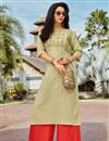 image of Festive Style Cotton Fabric Thread Work Kurti With Palazzo In Beige