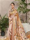 image of Cream Traditional Wear Designer Digital Printed Art Silk Saree