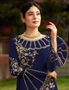 photo of Kritika Kamra Georgette Fancy Embroidered Function Wear Straight Cut Dress In Navy Blue