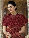 photo of Party Style Lycra Fabric Frill Border Saree With Cape Style Blouse In Maroon