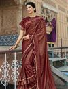 image of Party Style Lycra Fabric Frill Border Saree With Cape Style Blouse In Maroon