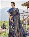 image of Lycra Fabric Blue Party Style Frill Border Saree With Cape Style Blouse
