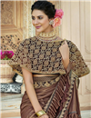 photo of Party Style Lycra Fabric Brown Frill Border Saree With Cape Style Blouse