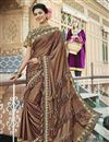 image of Party Style Lycra Fabric Brown Frill Border Saree With Cape Style Blouse