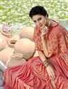 photo of Party Style Lycra Fabric Peach Frill Border Saree With Cape Style Blouse