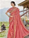 image of Party Style Lycra Fabric Peach Frill Border Saree With Cape Style Blouse