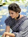 photo of Lycra Fabric Party Style Grey Frill Border Saree With Cape Style Blouse