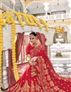photo of Fancy Wedding Function Wear Georgette Red Color Embroidered Saree
