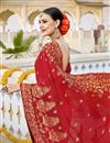 photo of Fancy Georgette Wedding Function Wear Red Color Embroidered Saree