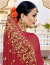 photo of Wedding Function Wear Fancy Red Color Embroidered Saree In Georgette