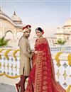 image of Wedding Function Wear Fancy Red Color Embroidered Saree In Georgette