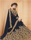 photo of Designer Embroidered Navy Blue Party Style Georgette Sharara Top Lehenga