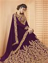 photo of Party Style Designer Embroidered Purple Sharara Top Lehenga In Georgette