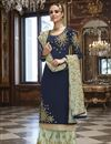image of Eid Special Georgette Party Wear Designer Embroidered Navy Blue Palazzo Suit