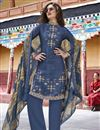 image of Art Silk Party Wear Blue Designer Salwar Suit