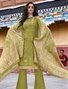 image of Designer Party Wear Art Silk Salwar Kameez In Sea Green