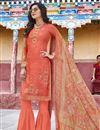 image of Orange Designer Party Wear Salwar Suit In Art Silk