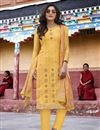 image of Art Silk Yellow Designer Party Wear Salwar Suit