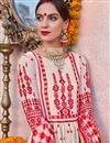 photo of Linen Fabric Designer Traditional Wear Cream Color Palazzo Suit