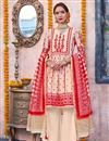 image of Linen Fabric Designer Traditional Wear Cream Color Palazzo Suit