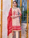 image of Designer Traditional Wear Linen Fabric Dress In Cream Color