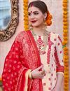 photo of Cream Color Designer Traditional Wear Suit In Linen Fabric
